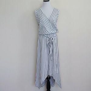 Ava and Viv Navy striped handkerchief dress 2x